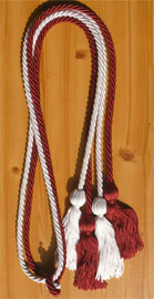 Maroon and White Double Tied Honor Cords