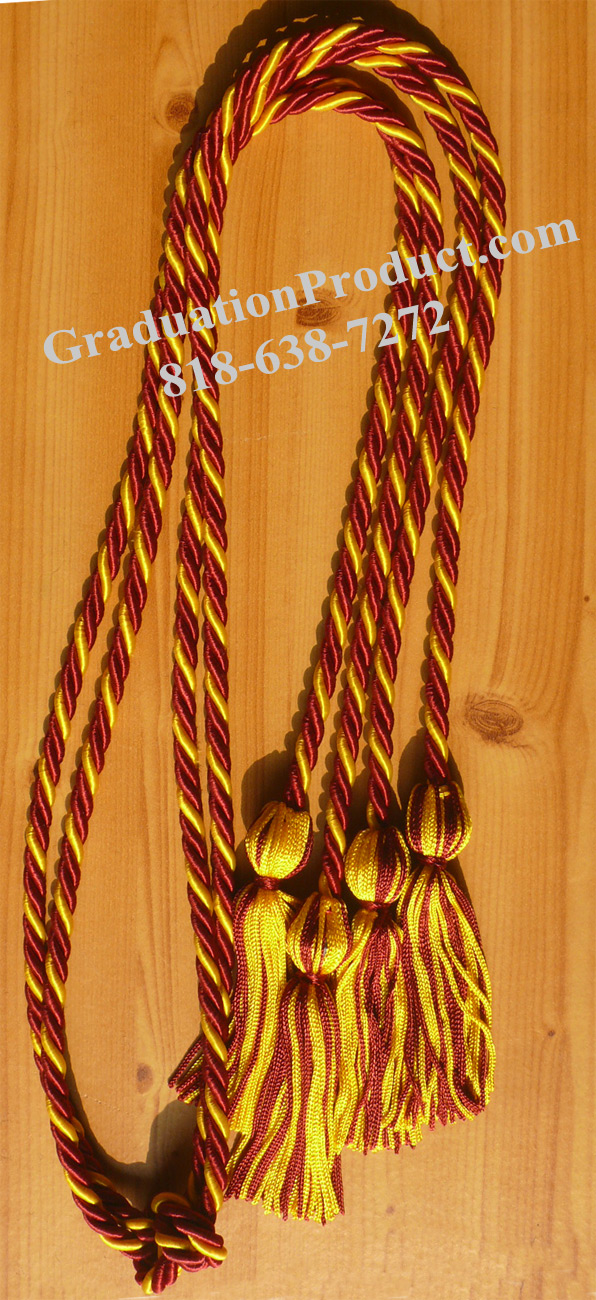Maroon Gold Intertwined Double Honor Cords