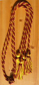 Maroon and Gold Intertwined Double Tied  Graduation Honor Cord
