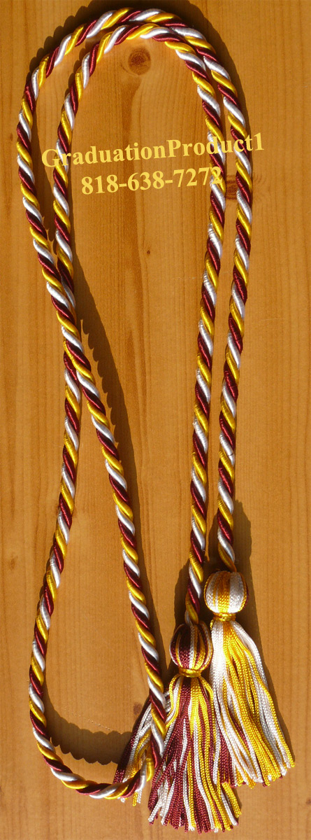Maroon Gold And Silver Honor Cords