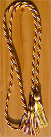 Maroon , Gold and Silver Intertwined Graduation Honor Cord