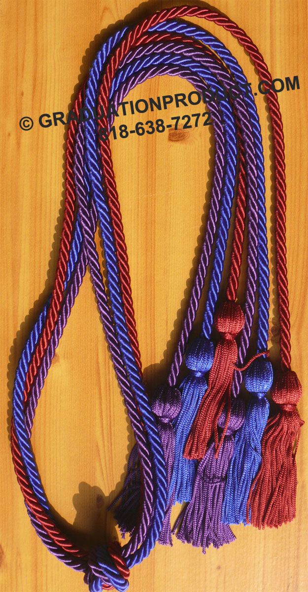 Maroon Purple And Royal Blue Triple Graduation Honor Cords