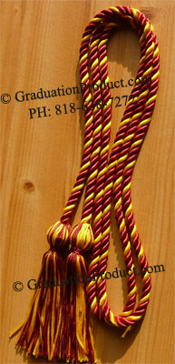 Maroon & Gold Intertwined Graduation Honor Cord