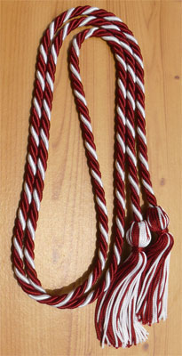 Maroon & White Intertwined Graduation Honor Cord