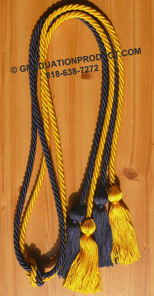 Navy Blue And Gold Double Honor Cord