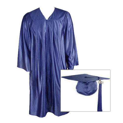 Navy Blue Graduation Cap, Gown and Tassel