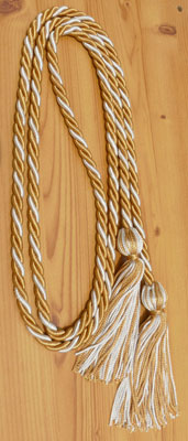 Old Gold & Silver  Intertwined Graduation Honor Cord