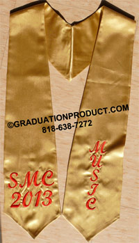Old Gold Custom Embroidered Graduation Stole