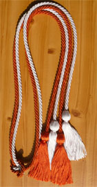 Orange and White Double Tied Honor Cords