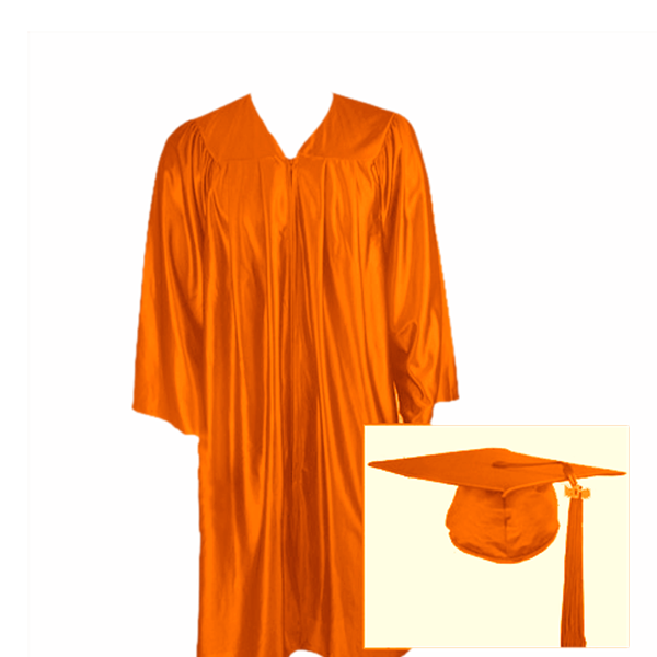 Orange Graduation Cap, Gown and Tassel