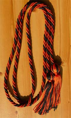 Orange and Black Braided Graduation Cords