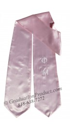 Phi Mu Greek pink Graduation Stole