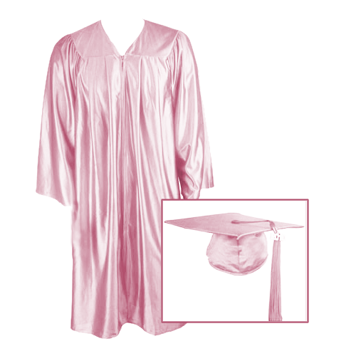 Pink Graduation Cap, Gown and Tassel
