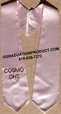 Light Pink One Side Embroidered Graduation Stole