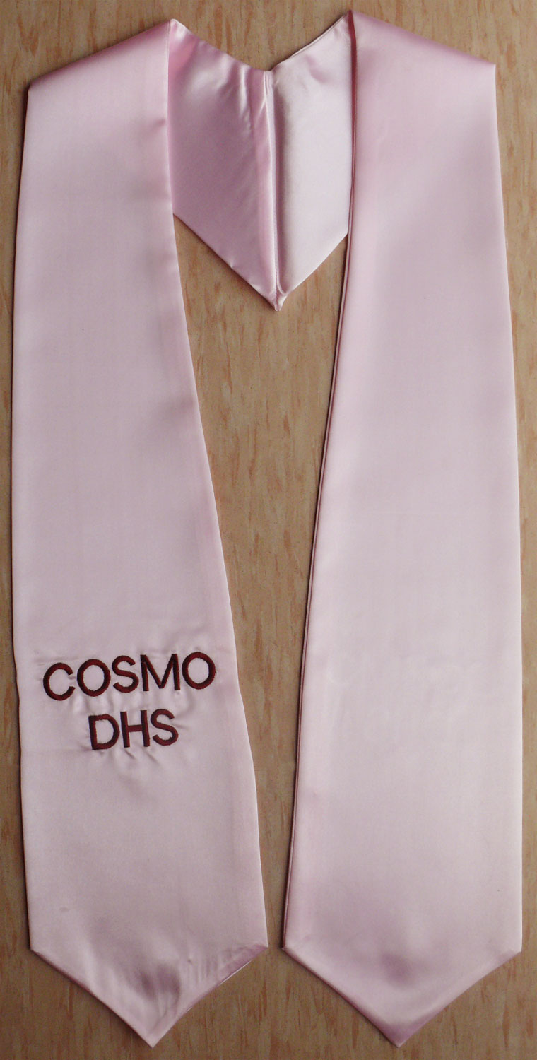 Pink Oneside Embroidered Graduation Stoles