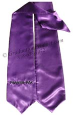 Purple One Side Embroidered Graduation Stole