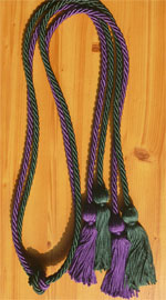 Purple and Forest Green Double Tied honor cords