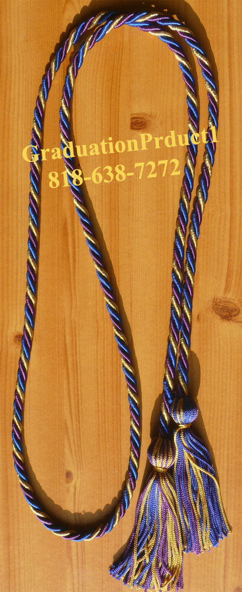 Purple Metallic Gold And Royal Blue Honor Cords