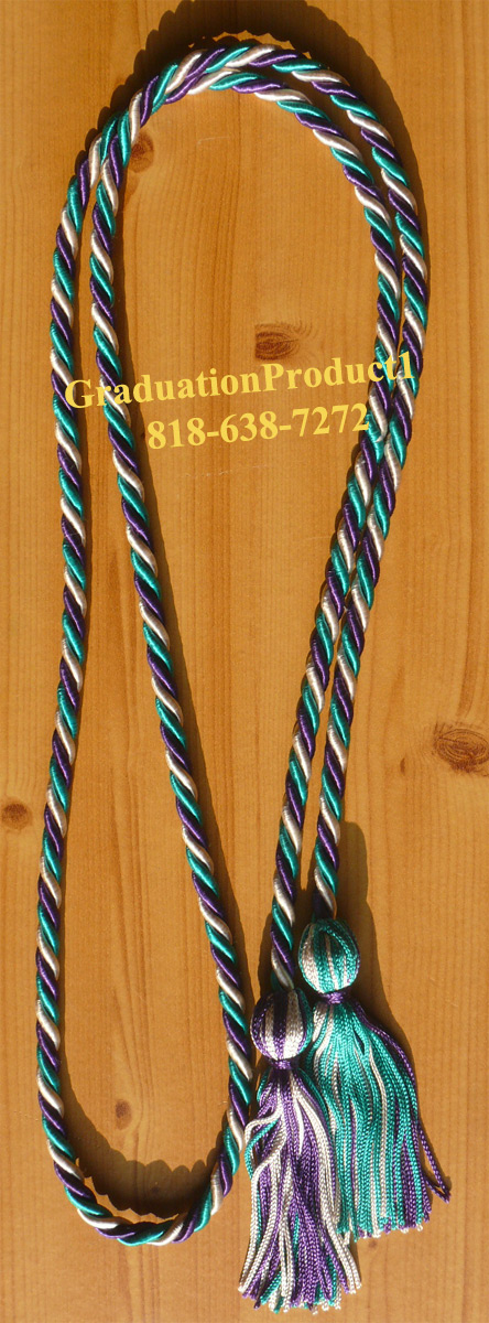 Purple Silver And Teal Honor Cords