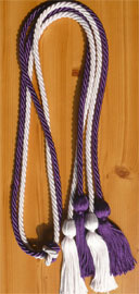 Purple and White Double Tied Honor Cords
