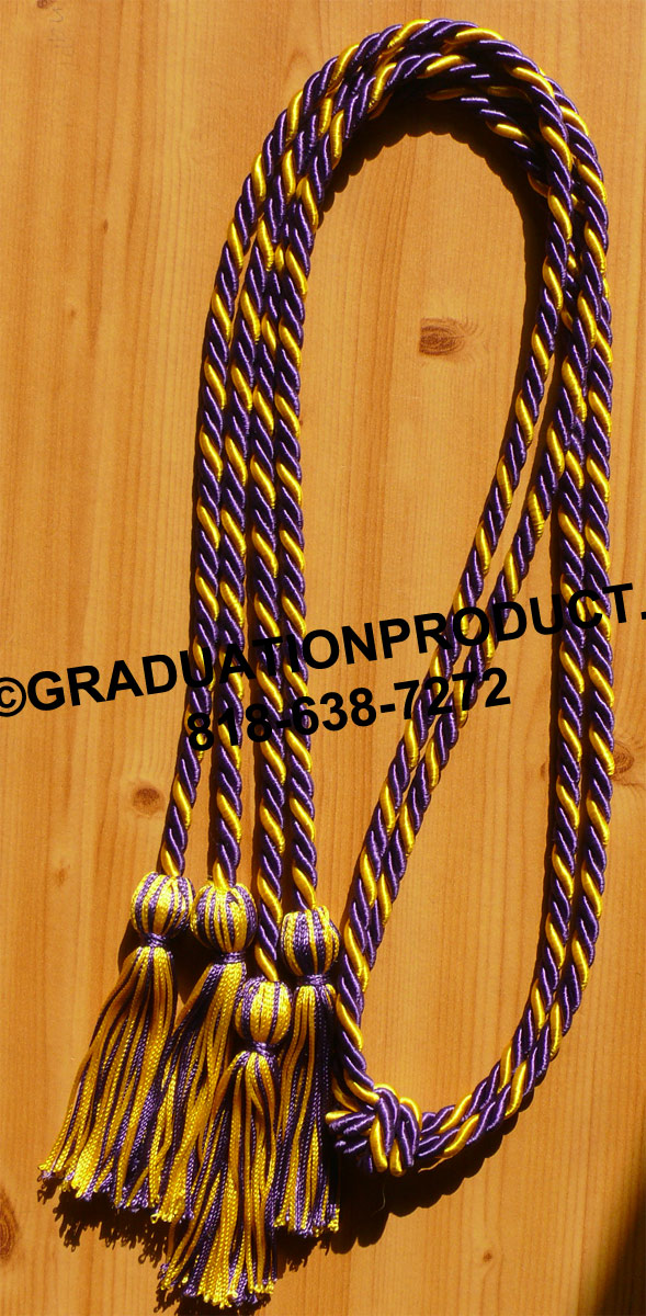 Purple Gold Intertwined Tied Honor Cords New