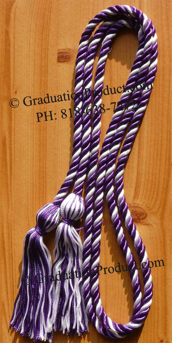 Purple and White Intertwined Graduation Honor Cord