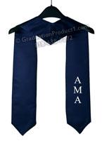 Navy Blue One Side Embroidered Graduation Stole