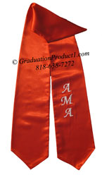 Red One Side Embroidered Graduation Stole