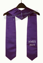 AMES 2018 Purple One Side Embroidered Graduation Stole