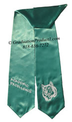 Academic Excellence Teal Graduation Stoles with Logo