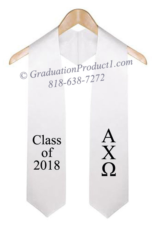 Alpha Chi Omega White Greek Graduation Stole