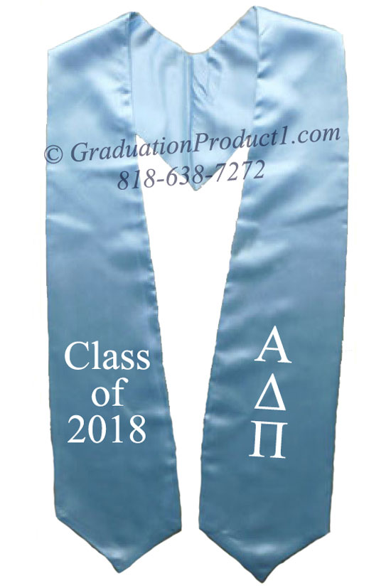 Alpha Delta Pi Light Blue Greek Graduation Stole