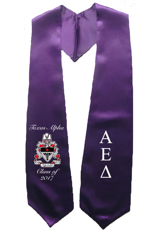 Alpha Eplison Delta Greek Graduation Stole