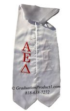 Alpha Epsilon Delta White Greek Graduation Stole