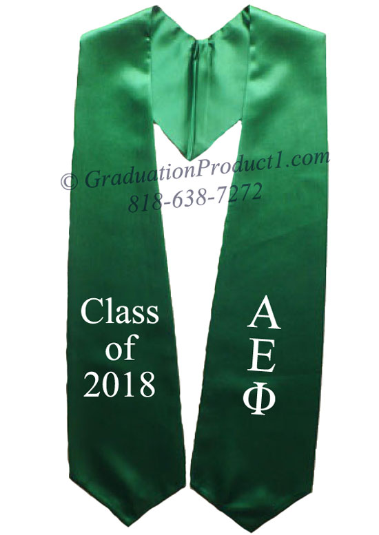 Alpha Epsilon Phi Kelly Green Greek Graduation Stole
