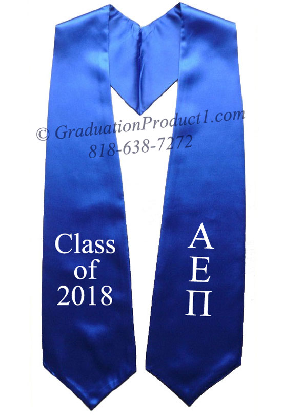 Alpha Epsilon Pi Royal Blue Greek Graduation Stole
