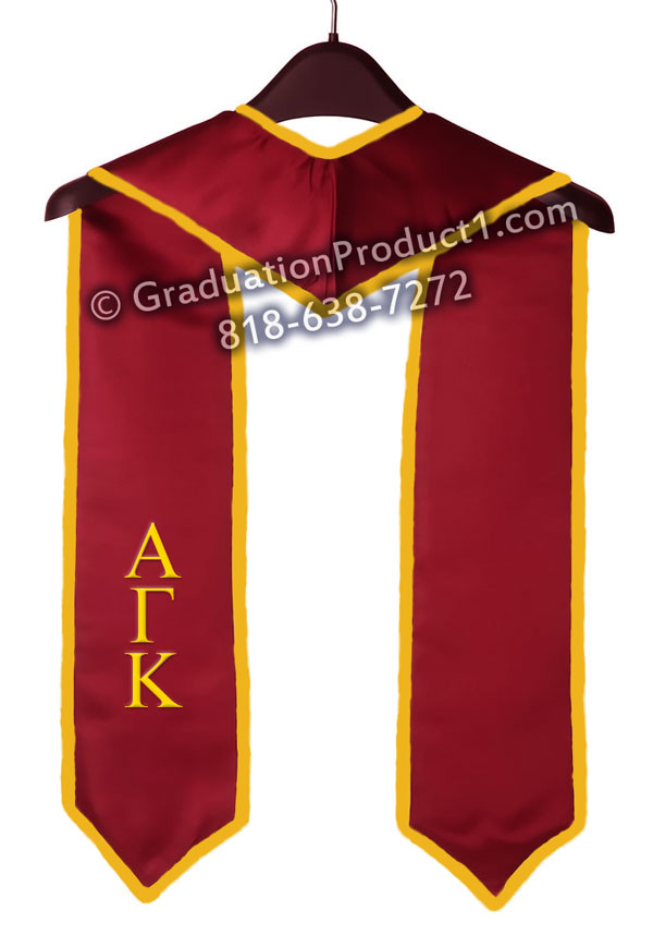 Alpha Gamma Kappa Greek Graduation Stole With Gold Trim