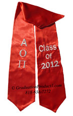Alpha Omicron Pi Red Greek Graduation Stole