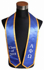 Alpha Phi Omega Royal Blue Graduation Stole With Trim
