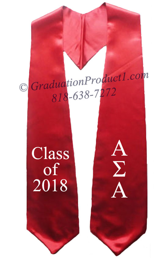 Alpha Sigma Alpha 2017 Red Greek Graduation Stole