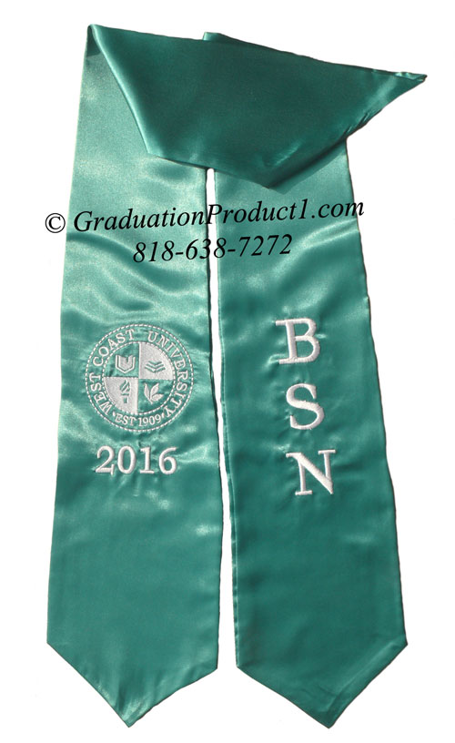 Teal Twoside Logo Embroidery Graduation Stole
