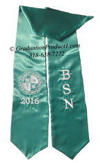 BSN, West Coast University 2015 Teal Graduation Stoles with Logo