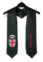 Brown University Black Graduation Stole with Logo