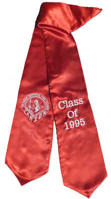 Red Two Side Embroidered Graduation Stole w/ 2 side Logo