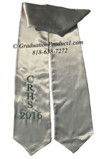 Silver One Side Embroidered Graduation Stole