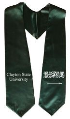 Dark Green Two Side Embroidered Graduation Stole with Logo