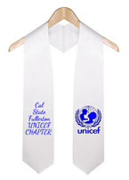 White Two Side Embroidered Graduation Stole With Logo