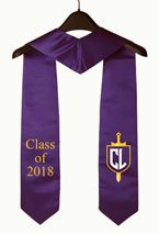 Purple Two Side Embroidered Graduation Stole with Logo
