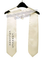 College Connect White One Side Embroidered Graduation Stole