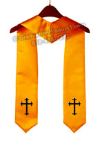 Cross Gold Graduation Stole with Logo